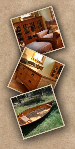 Custom Chair, handmade cabinet, and wood canoe